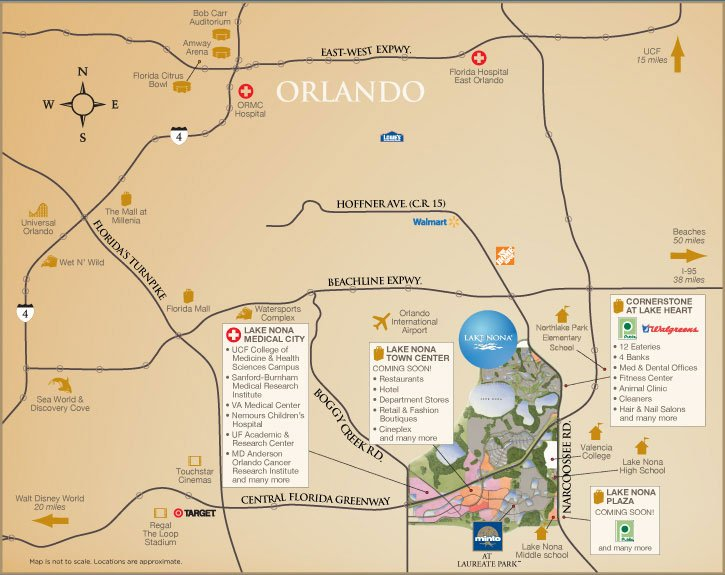 Map Of Orlando Florida.New Construction Homes In Laureate Park At Lake Nona In Orlando Fl