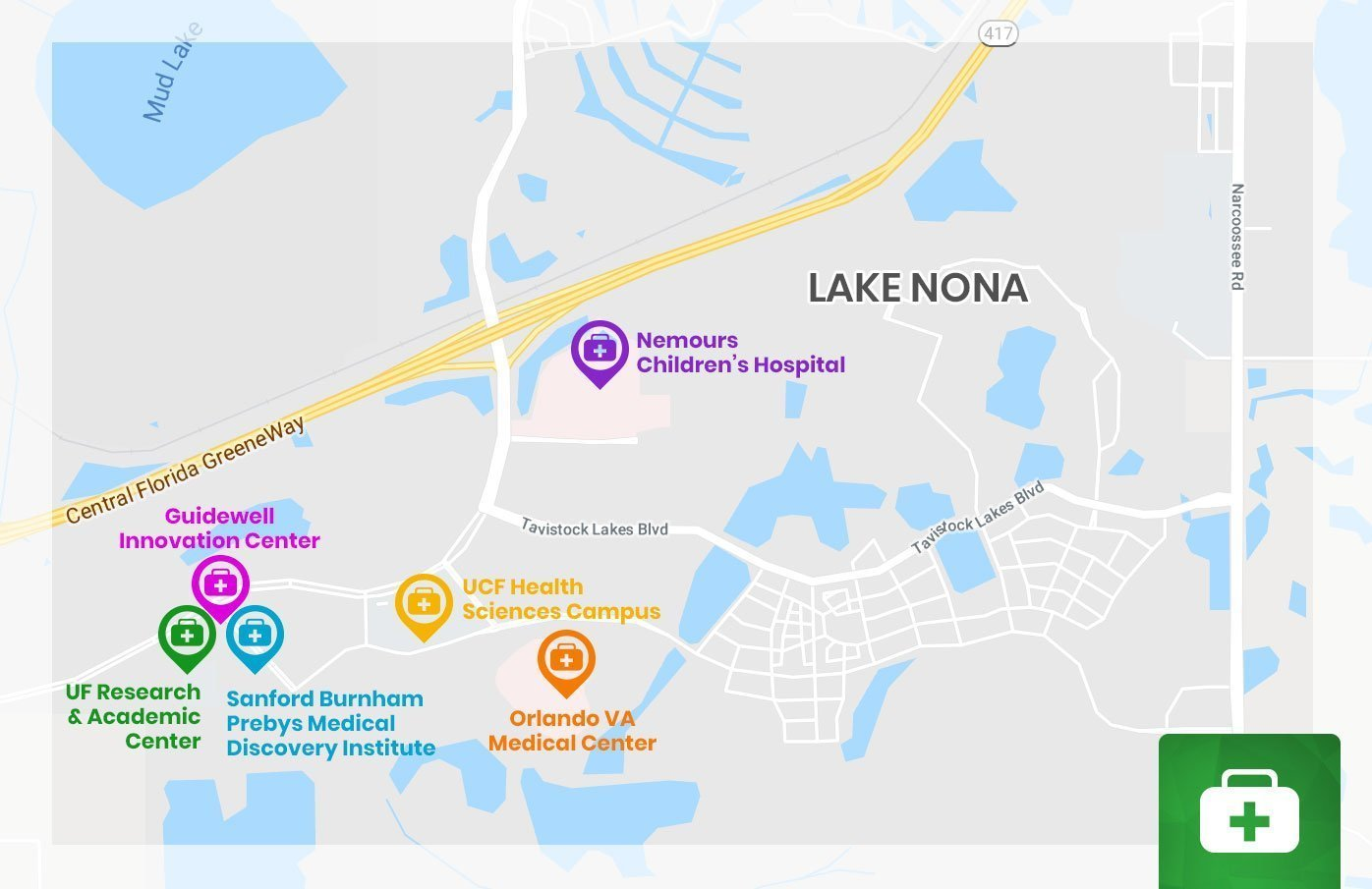 Lake Nona Medical City Map | Orlando New Home Experts